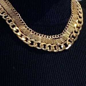 Aldo Jewelry - Aldo Gold Tone Triple Chain Statement Piece.